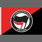 Antifaschistische Aktion halb halb - rot / schwarz -