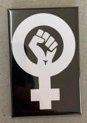 Feminist Fist (schwarz) - Flächenmagnet