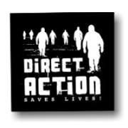 Direct Action Saves Lives - Soli-Aufnäher auf robustem Bio Canvas