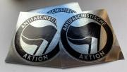 Antifaschistische Aktion Silber spiegelnd PVC (rund)