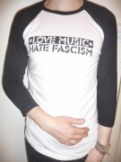 LOVE MUSIC HATE FASCISM ( Fairtrade ) -3/4 Sleeve-