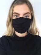 2-lagige Stoffmaske für Mund & Nase (schwarz)