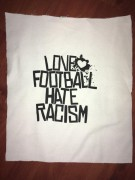 LOVE FOOTBALL HATE RACISM -weiß- Backpatch