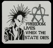 FREEDOM LIVES WHEN THE STATE DIES - PVC-Aufkleber