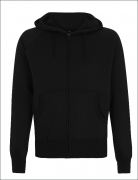 UNISEX ZIP UP HOOD- Schwarz